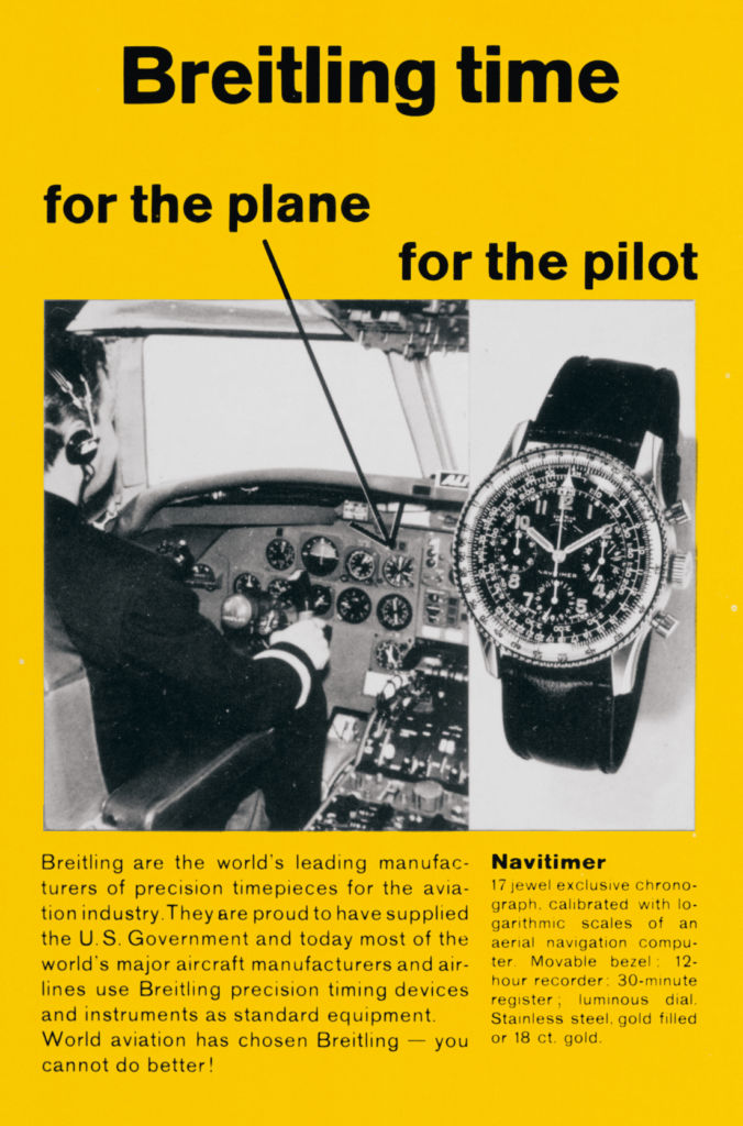 """""""For the plane, for the pilot"""" Werbung Breitling 1950"""