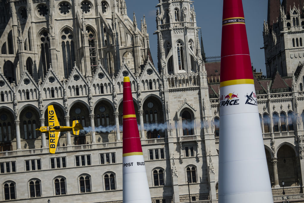 Francois Le Vot of France performs during the finals of the fourth stage of the Red Bull Air Race World Championship in Budapest, Hungary on July 5, 2015.