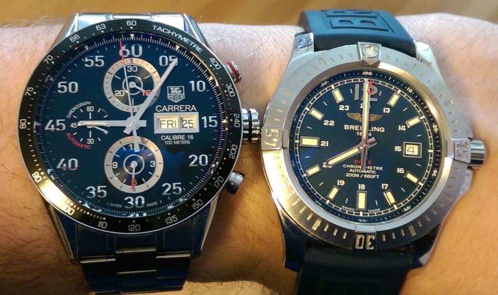 Uhrengröße - Tag Heuer Carrera vs. Breitling Colt