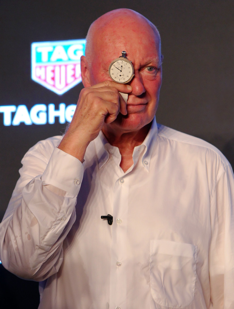 3. Jean-Claude Biver, CEO of TAG Heuer and LVMH Watch Division President wears 2915A TAG Heuer stopwatch China Mars Exploration Mission