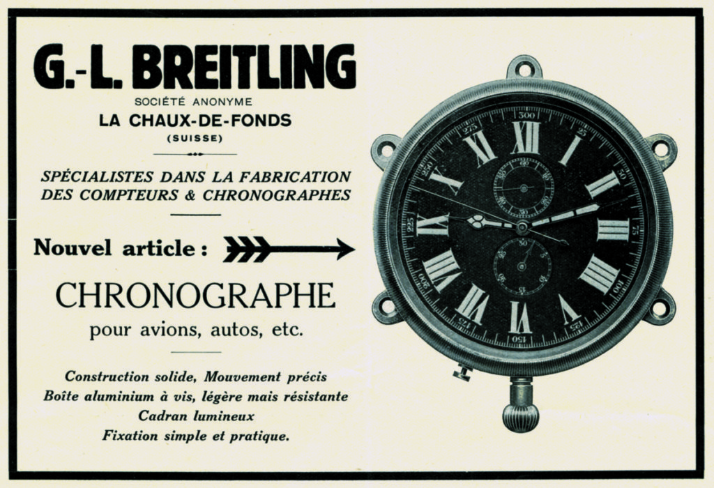 Advertisement for an onboard chronograph for planes or automobiles 1931_Breitling the Book_p51