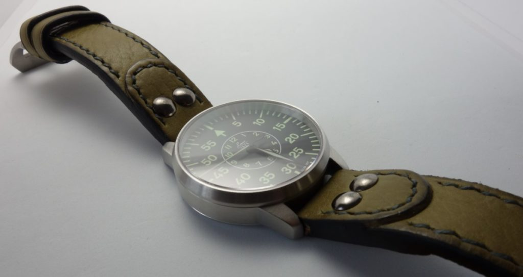 Laco 1925 B-Muster Beobachtungsuhr Lederarmband Olive Nieten