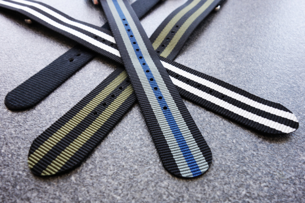 WatchBandit Nato blau schwarz silber-grau black blue silver-grey