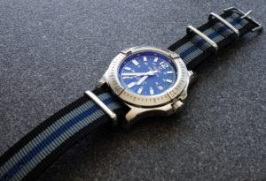 WatchBandit Nato Strap Breitling Colt 2016 blau schwarz silber-grau black blue silver-grey