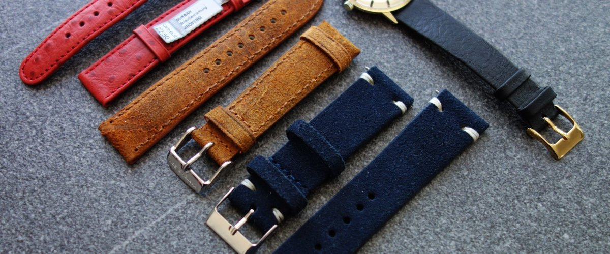 WatchBandit Wildleder Uhren-Armband Sueded Leather Vintage Blau