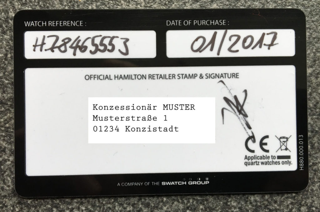 Hamilton gestempelte Garantiekarte Grauhändler Konzessionär