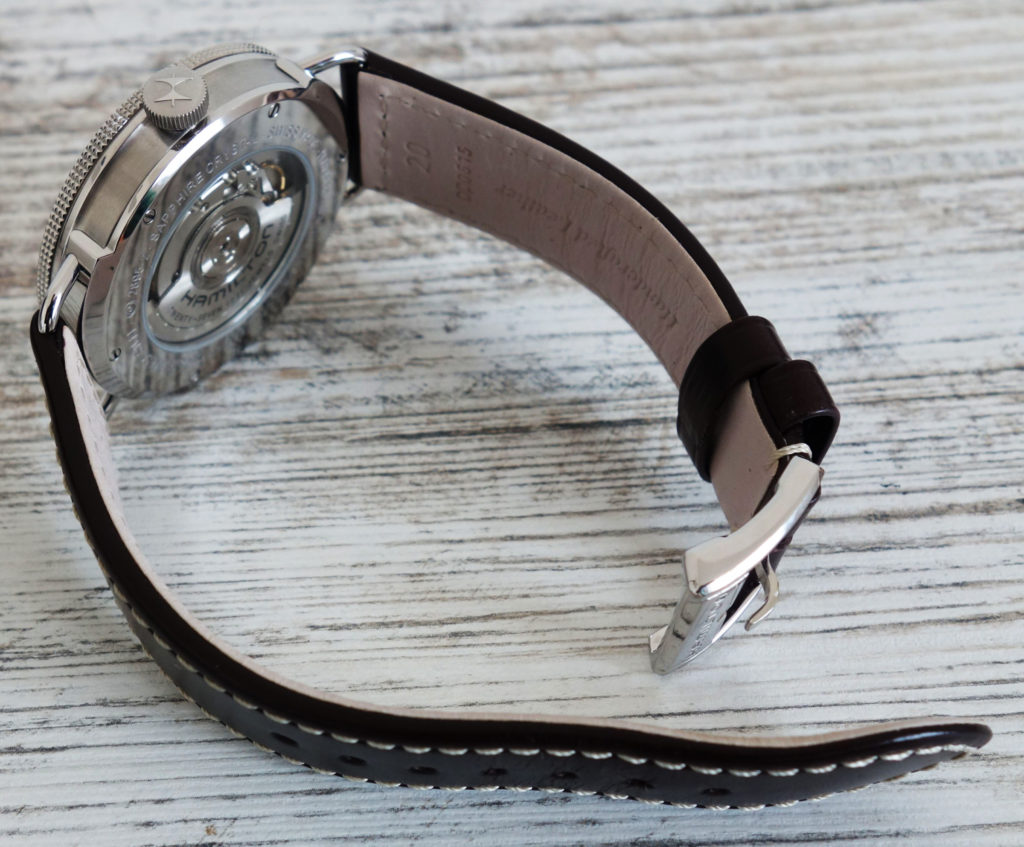 Hamilton Khaki Navy Pioneer H78465553 Deckwatch Marine weißes Ziffernblatt Lederband