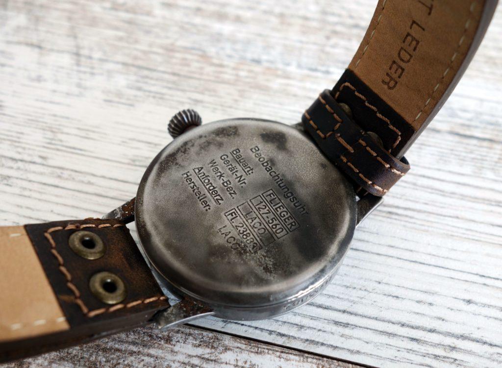 Lacer Paderborn Erbstück Beobachtungsuhr Fliegeruhr B-Uhr B-Muster WWII Vintage Gehäuseboden Caseback