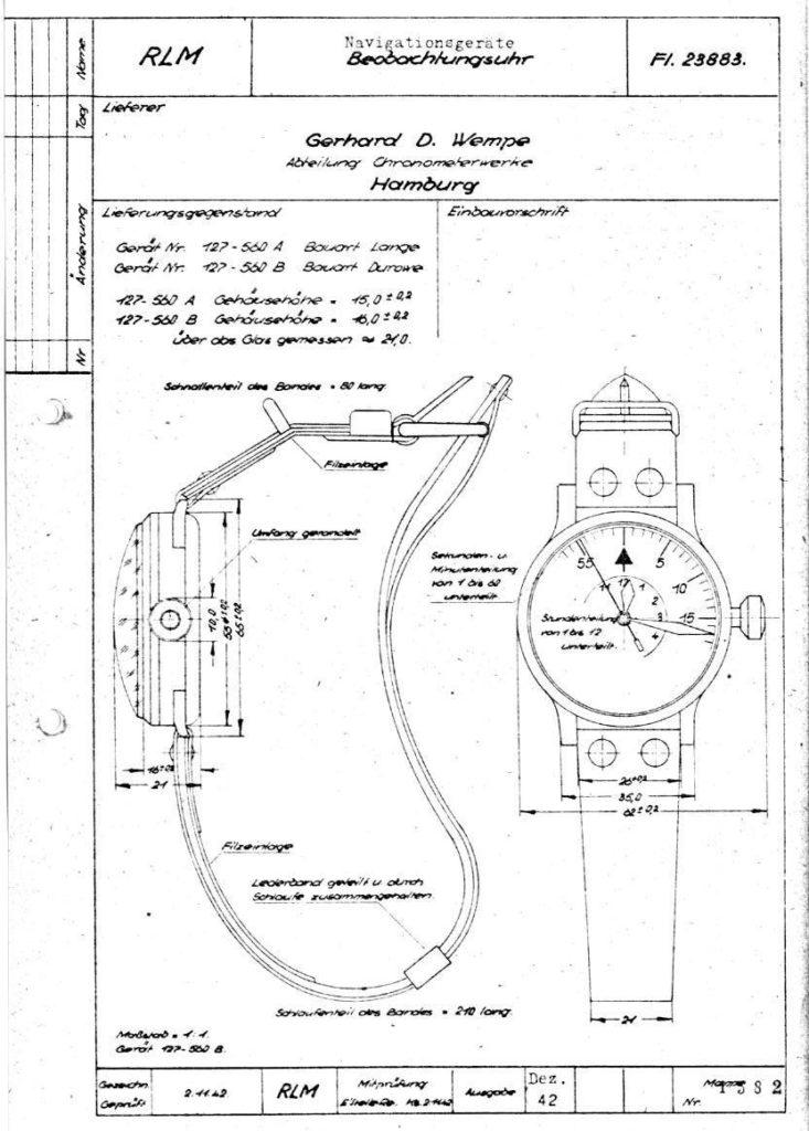 Fl 23883 Reichsluftfahrtministerium RLM zweiter Weltkrieg Beobachtungsuhr