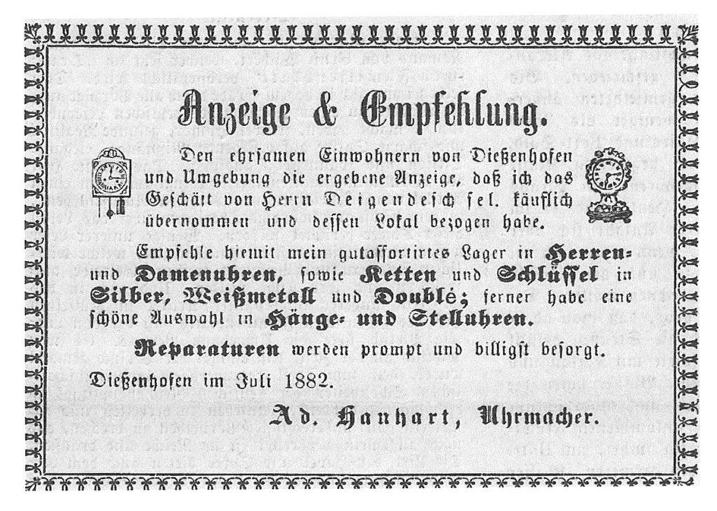 Hanhart Advertising 1882 Ankündigung EMpfehlung
