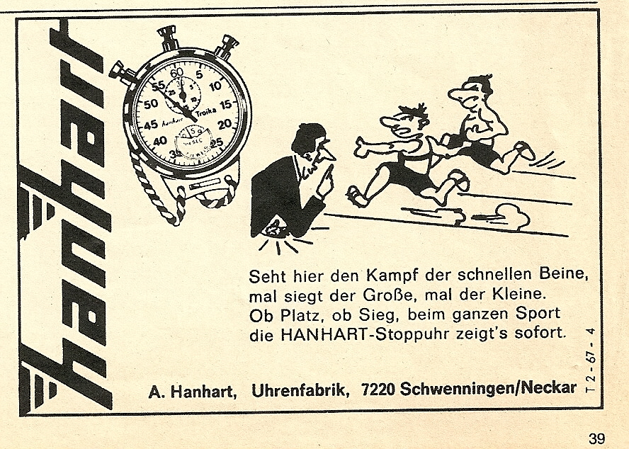 Hanhart Advertising Werbung Vintage Stop Watches Stopuhr