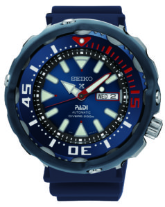 "Read more about the article Seiko ""Monster Tuna"" Prospex Diver PADI (SRPA83K1) – monstermäßig schicke blau-rote Special Edition"