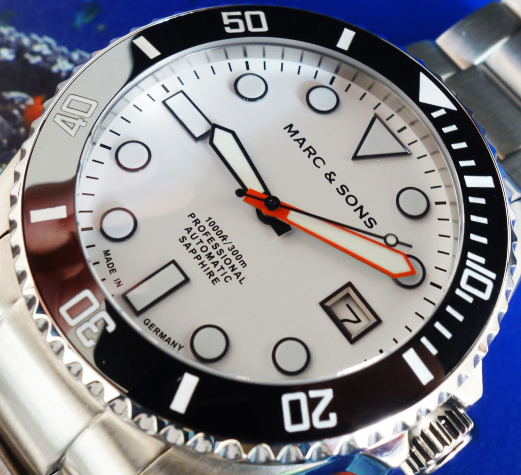 Marc & Sons MSD-045 Taucheruhr Made in Germany weißes Ziffernblatt Orange Zeiger (4)