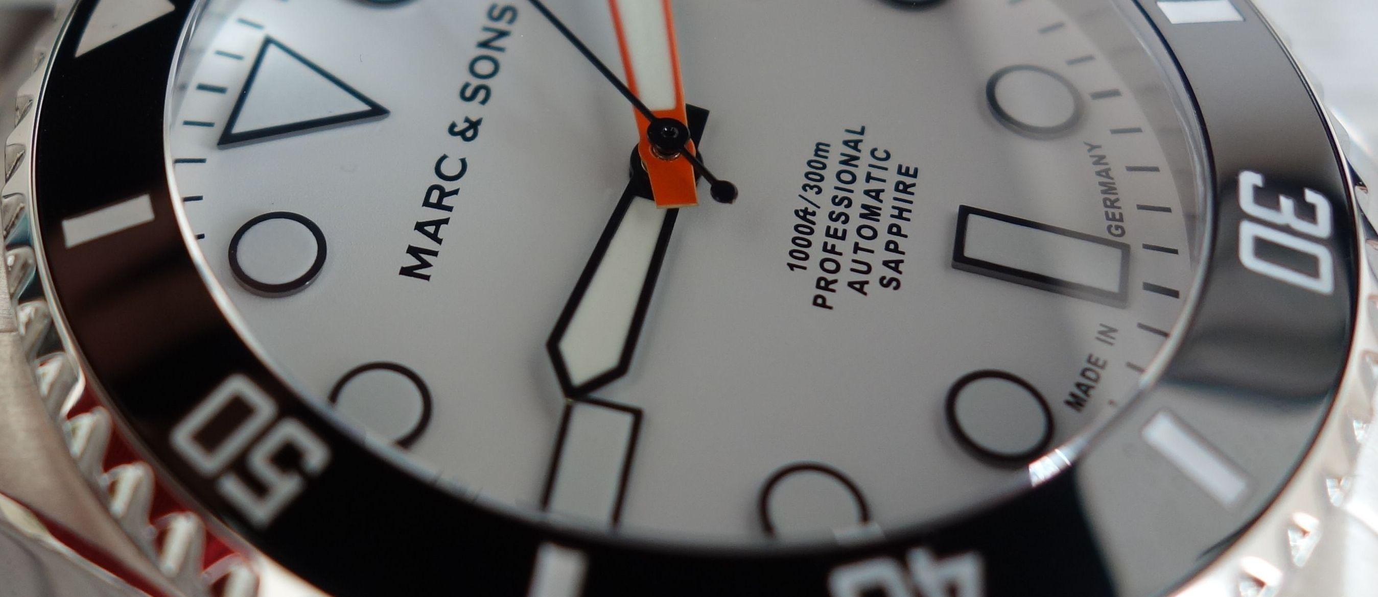 Marc & Sons MSD-045 Taucheruhr Made in Germany weißes Ziffernblatt Orange Zeiger (2)