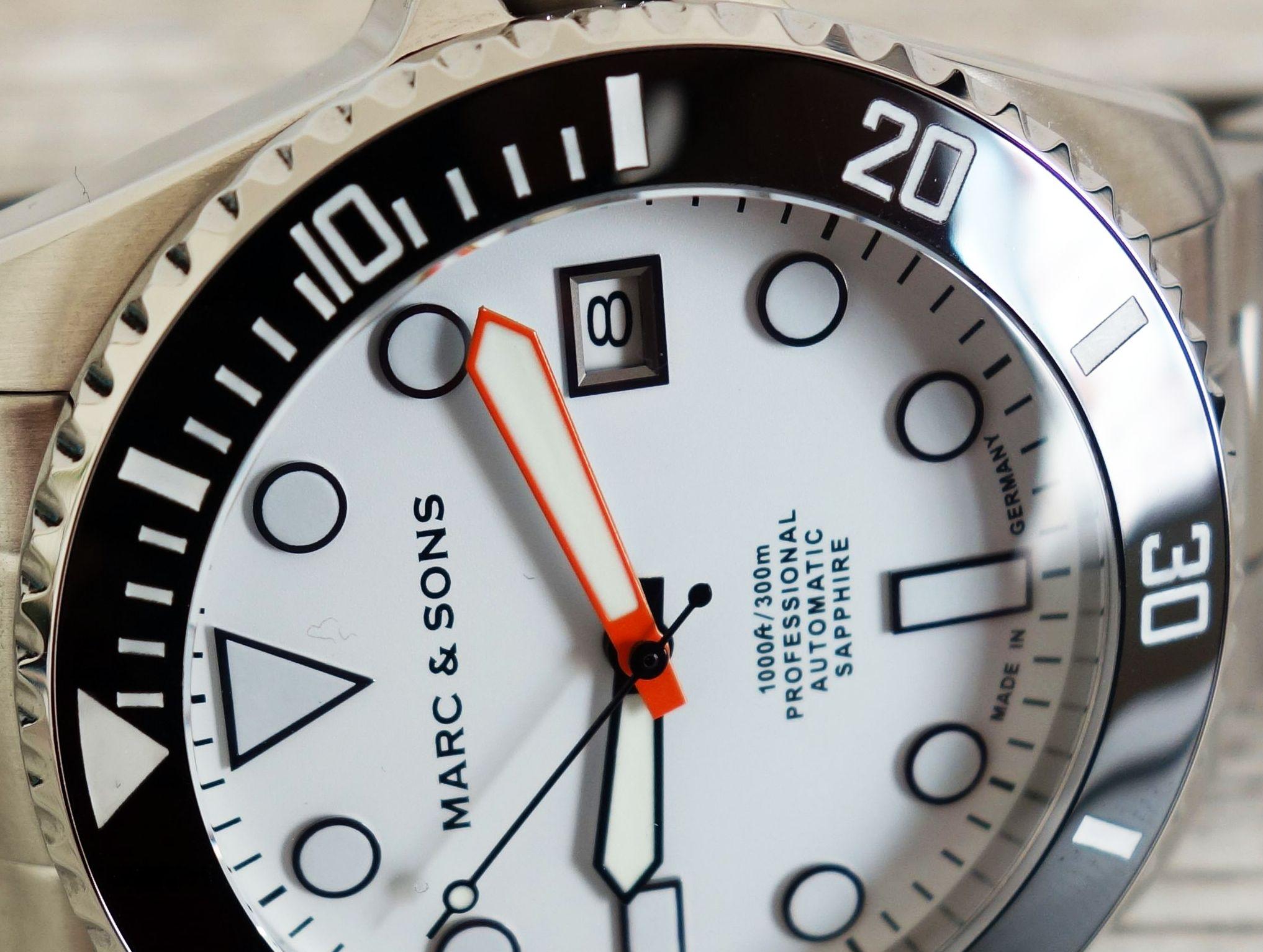 Marc & Sons MSD-045 Taucheruhr Made in Germany weißes Ziffernblatt Orange Zeiger