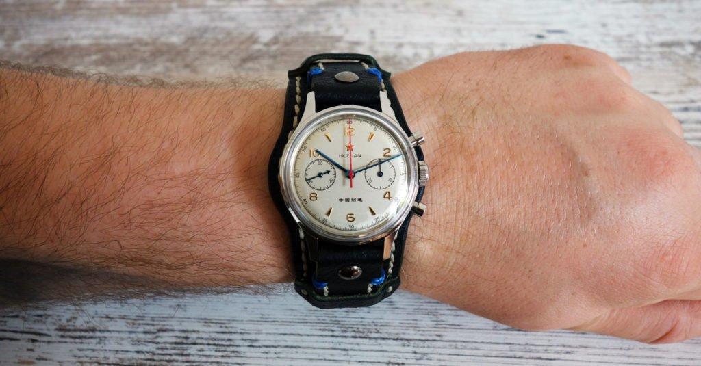 Unterlagenband Leder schwarz Fliegeruhr Pilot Seagull 1963 Vintage Wrist Handgelenk