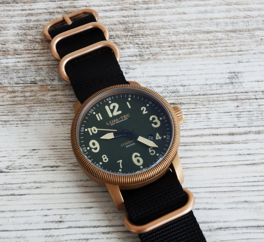 LÜM-TEC B19 Combat Bronze Military Uhr am Bronze Zulu