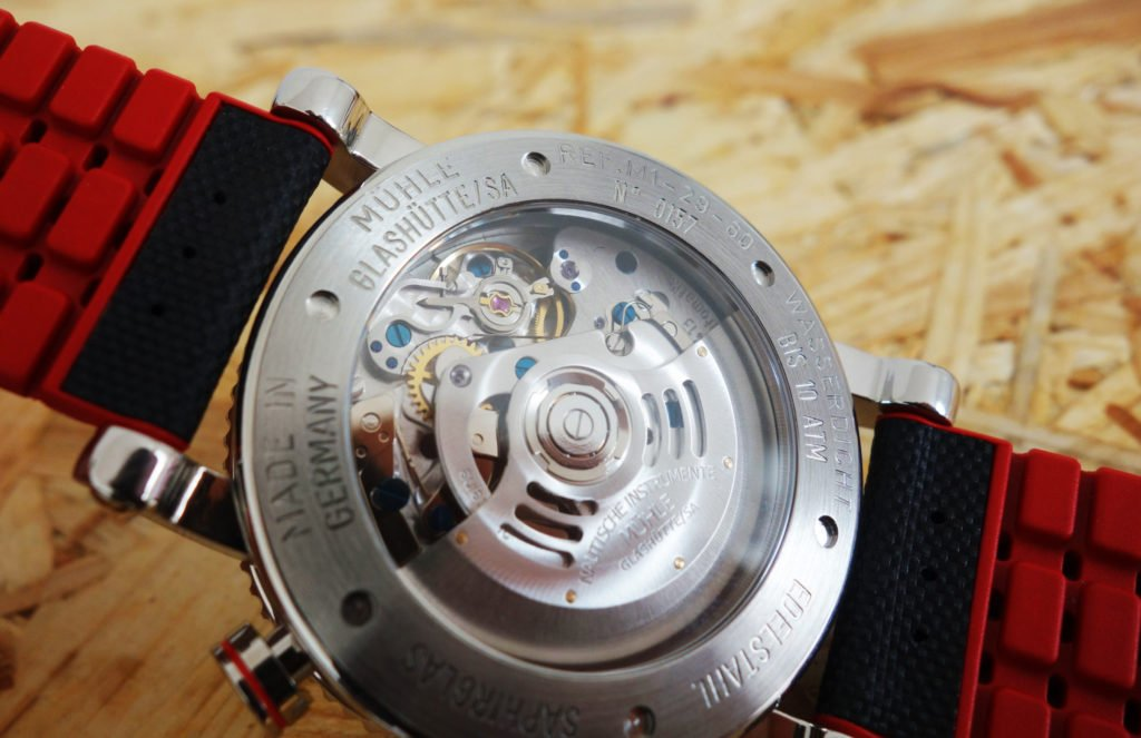 Mühle-Glashütte Teutonia Sport I Glasboden Sellita SW500-MU9413 Spechthalsregulierung