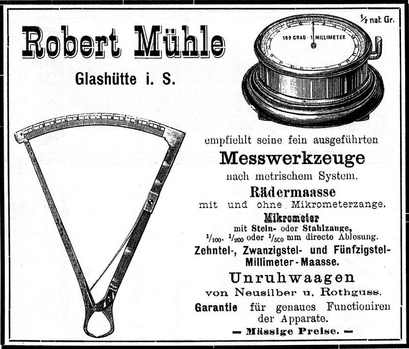 Robert Mühle Glashütte Vintage Werbung Anzeige RMS 1895 Ausstellung