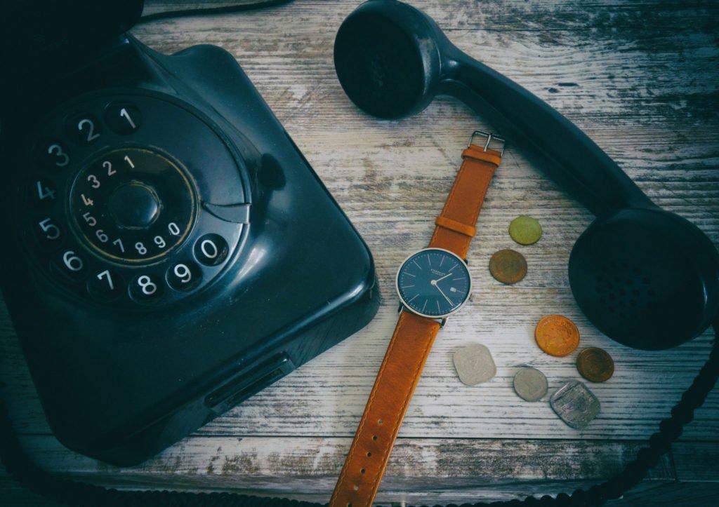 Vintage Telefon Münzen Uhr