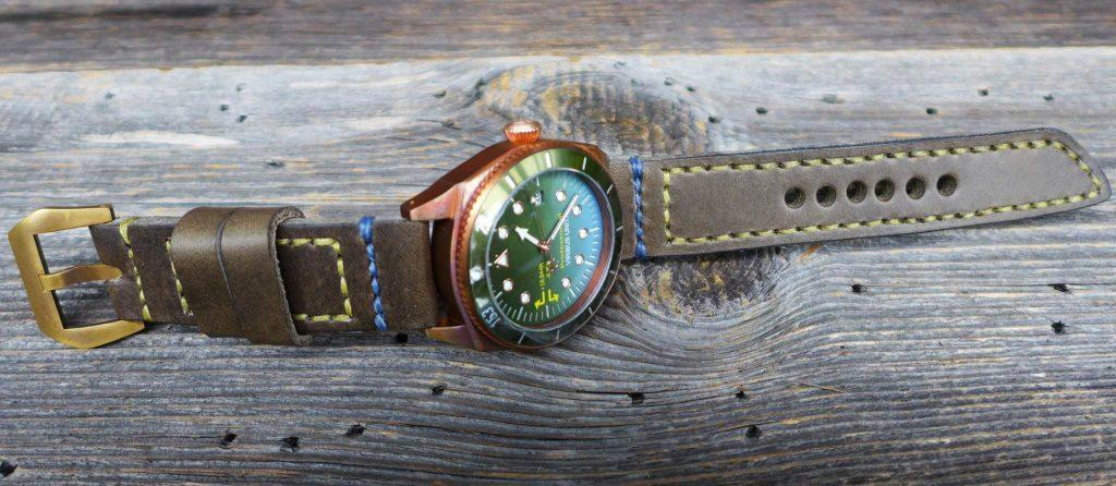 Bronze Uhr Vintage Lederband