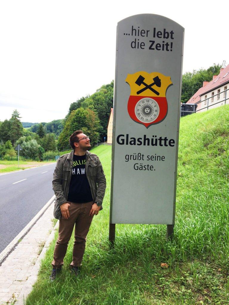 Glashütte Stadt Eingangschild