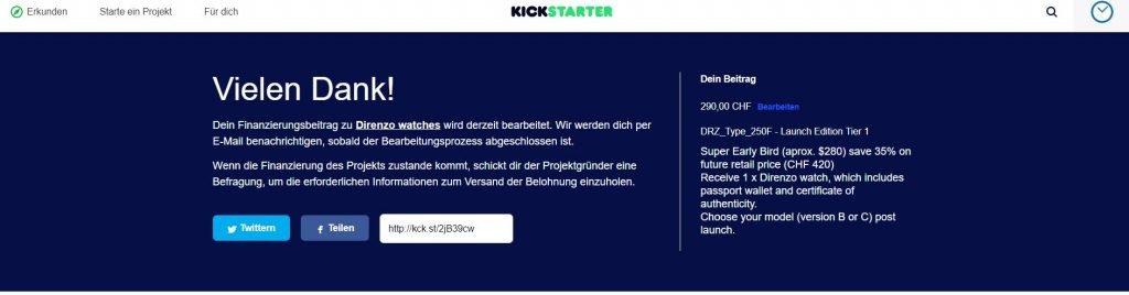 Kickstarter Vielen Dank