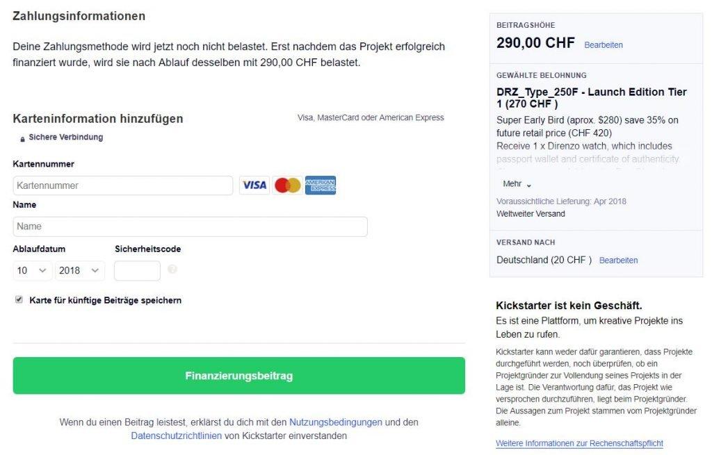 Kickstarter Zahlungsinfo hinterlegen