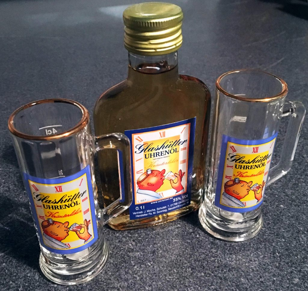 Uhrenoel Glashütte Schnapsgläser Kräuterlikör