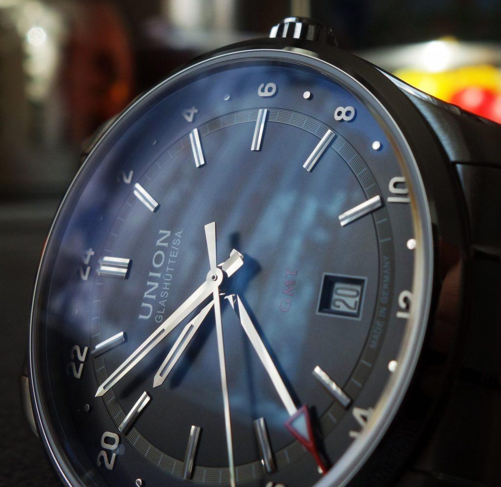 Union Glashütte Belisar GMT entspiegeltes Saphirglas zweiseitig