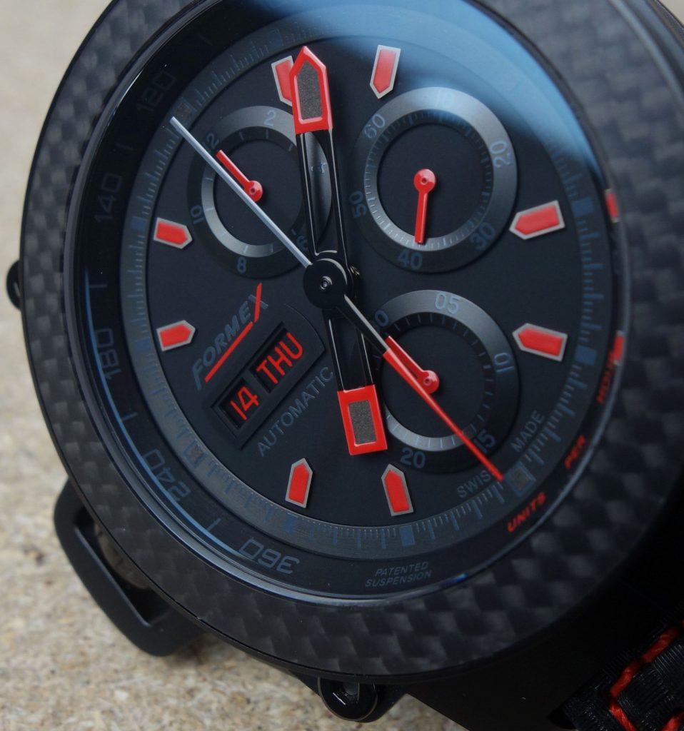 Carbon Chronograph schwarz rot