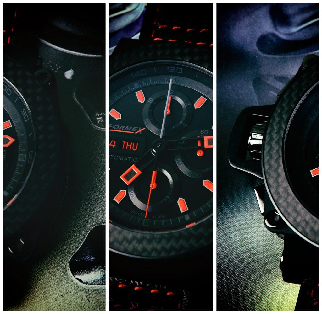 Chronograph black red Rennwagen
