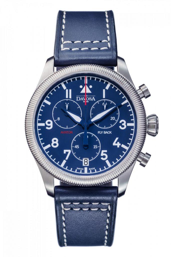 DAVOSA Aviator Quarz Flyback Chronograph blau