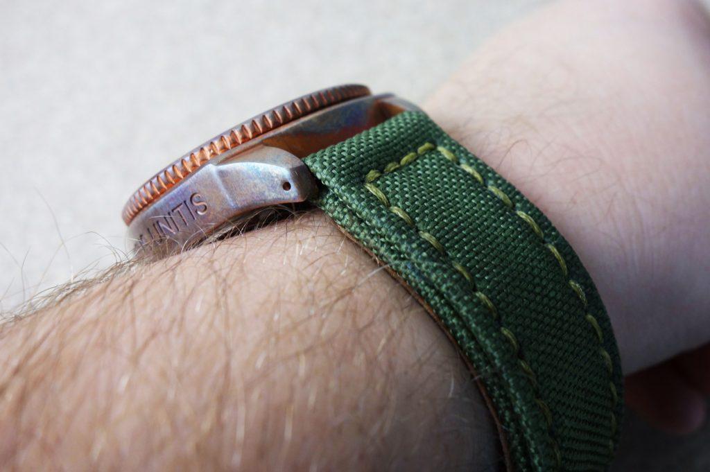 Militär Oliv Grün Canvas Bronze Armband