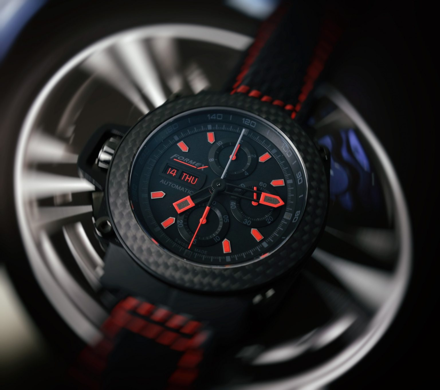 Racing Chronograph black red Carbon