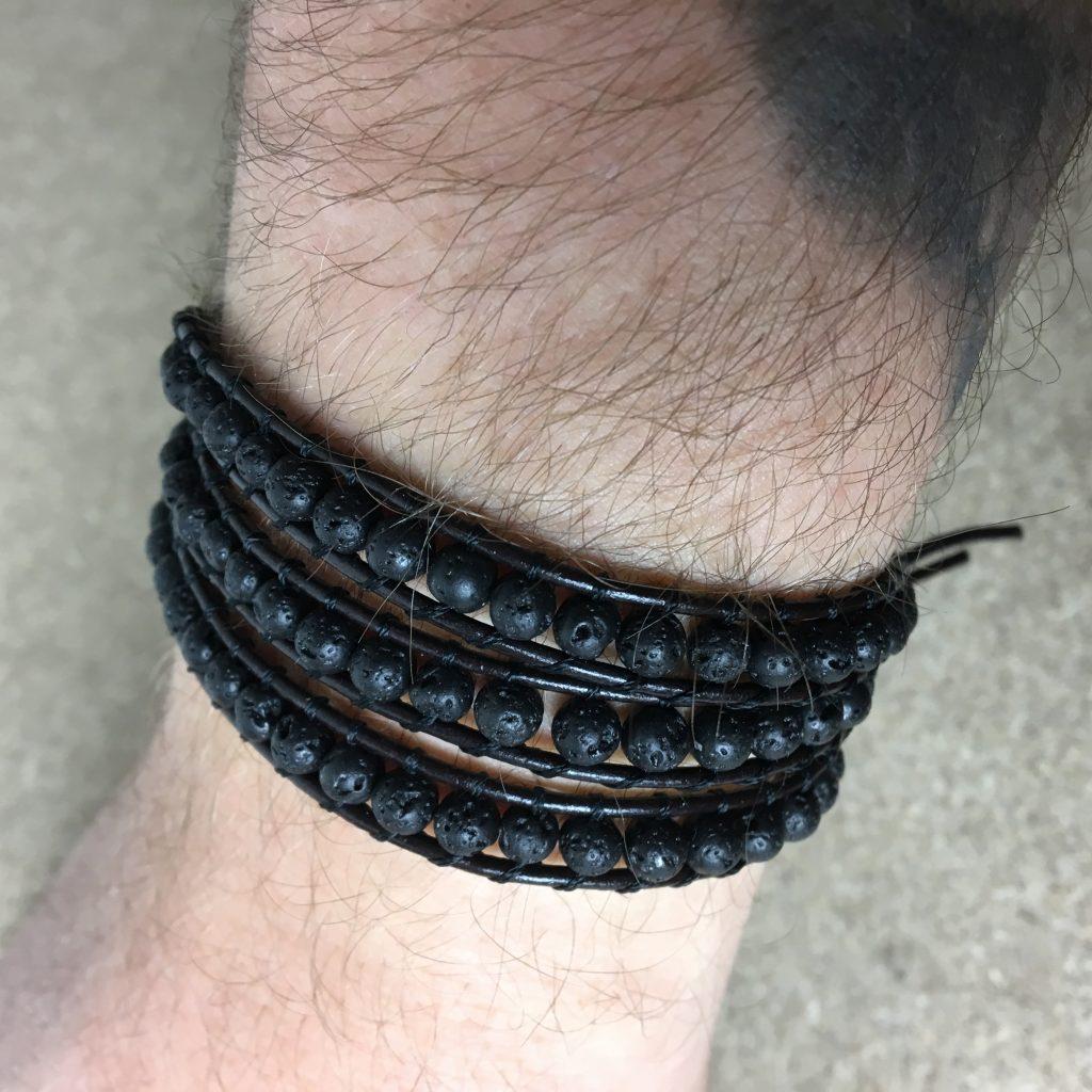 Lavastein Armband Herren dreifach