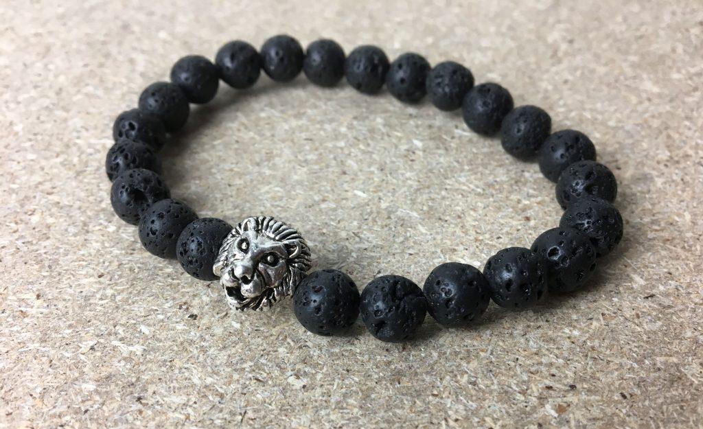 Lavastein Armband Löwen Kopf