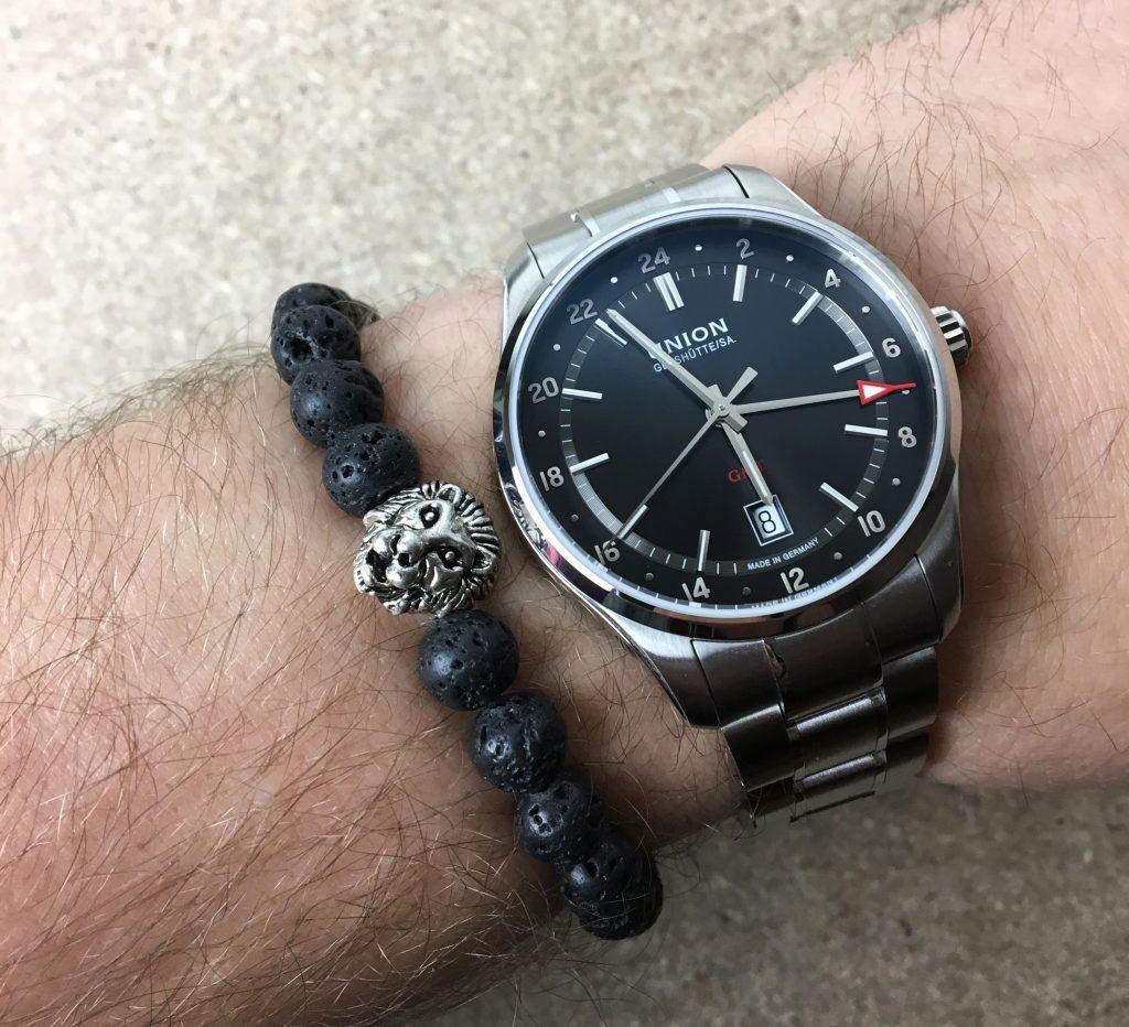 Watchbandit Lava Stein Armband Löwen Kopf