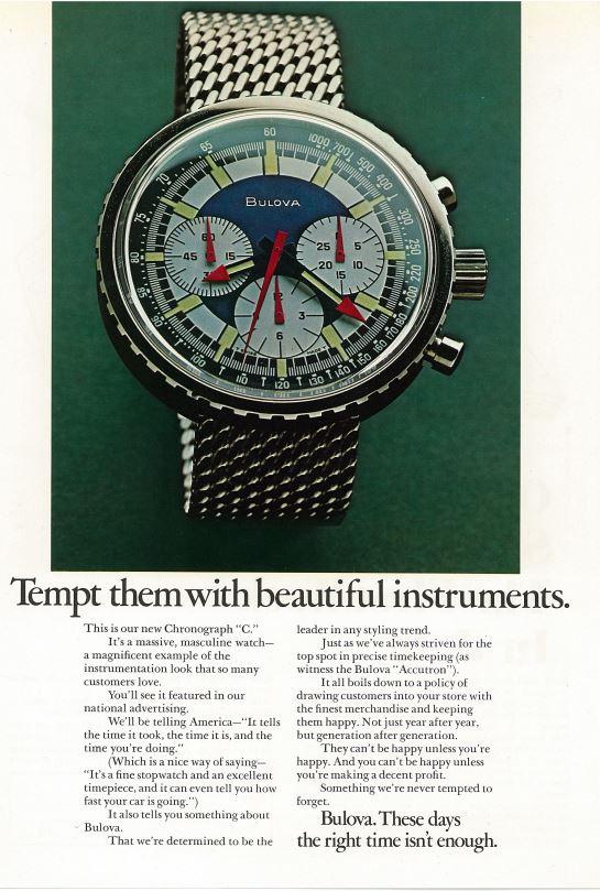 Bulova Chronograph C Original Anzeige Vintage