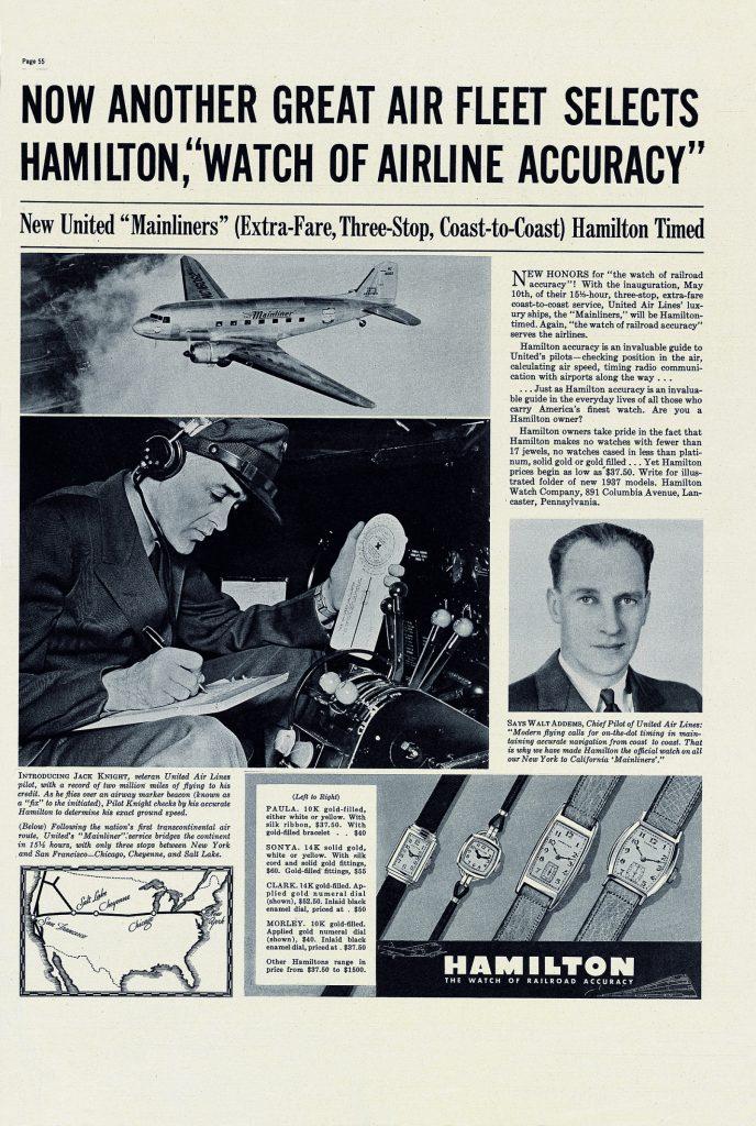 Hamilton Alte Werbeanzeige Aviation