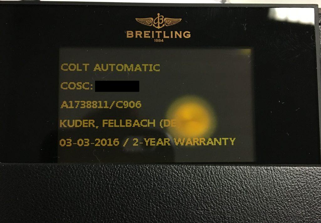 Breitling Garantie Karte 2 Jahre