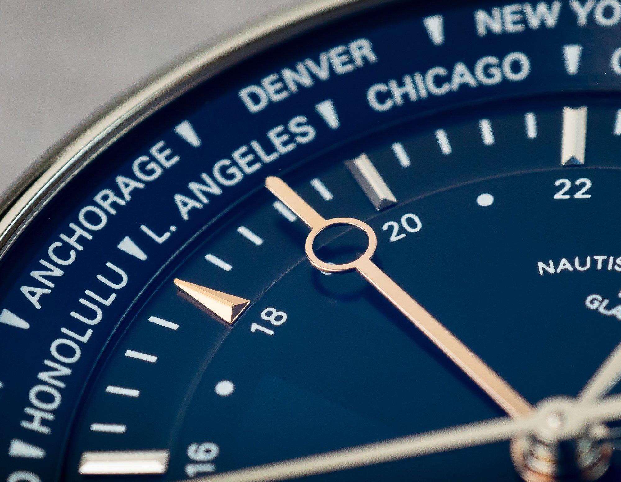 Glashütte GMT Uhr Rosegold Zeiger Index