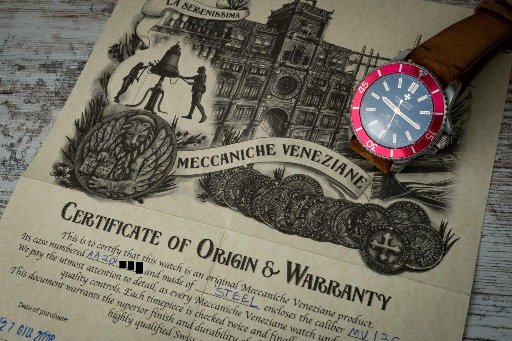 Meccaniche Veneziane Certificate of Origin Warranty
