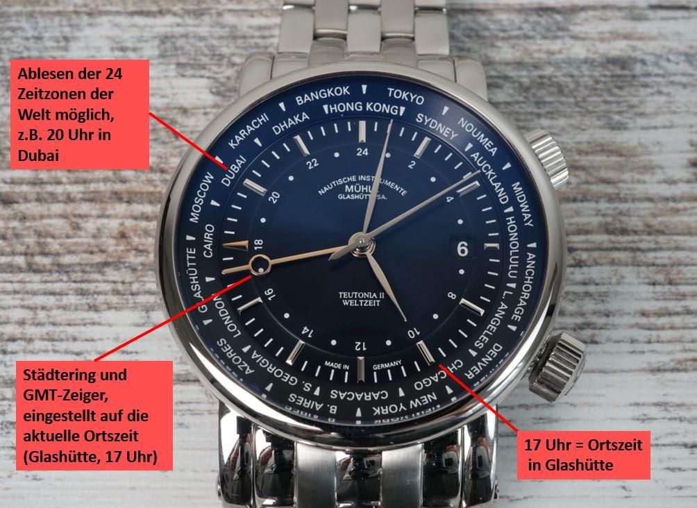 Weltzeit Armbanduhr ablesen