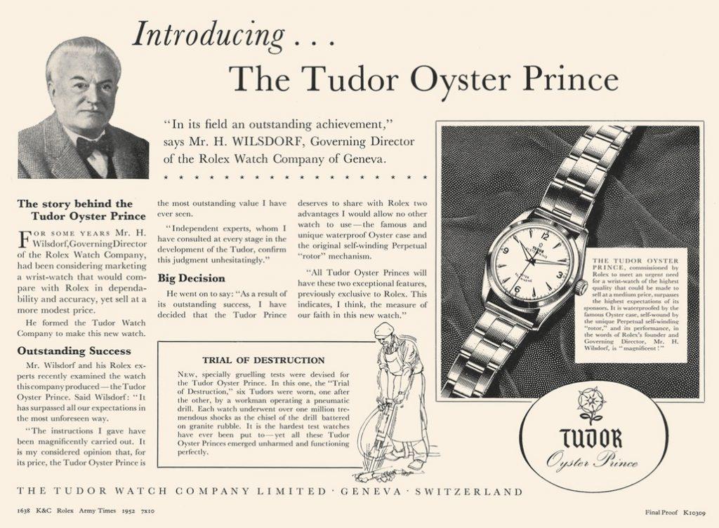 Tudor Vintage Uhren Oyster Anzeige 1952
