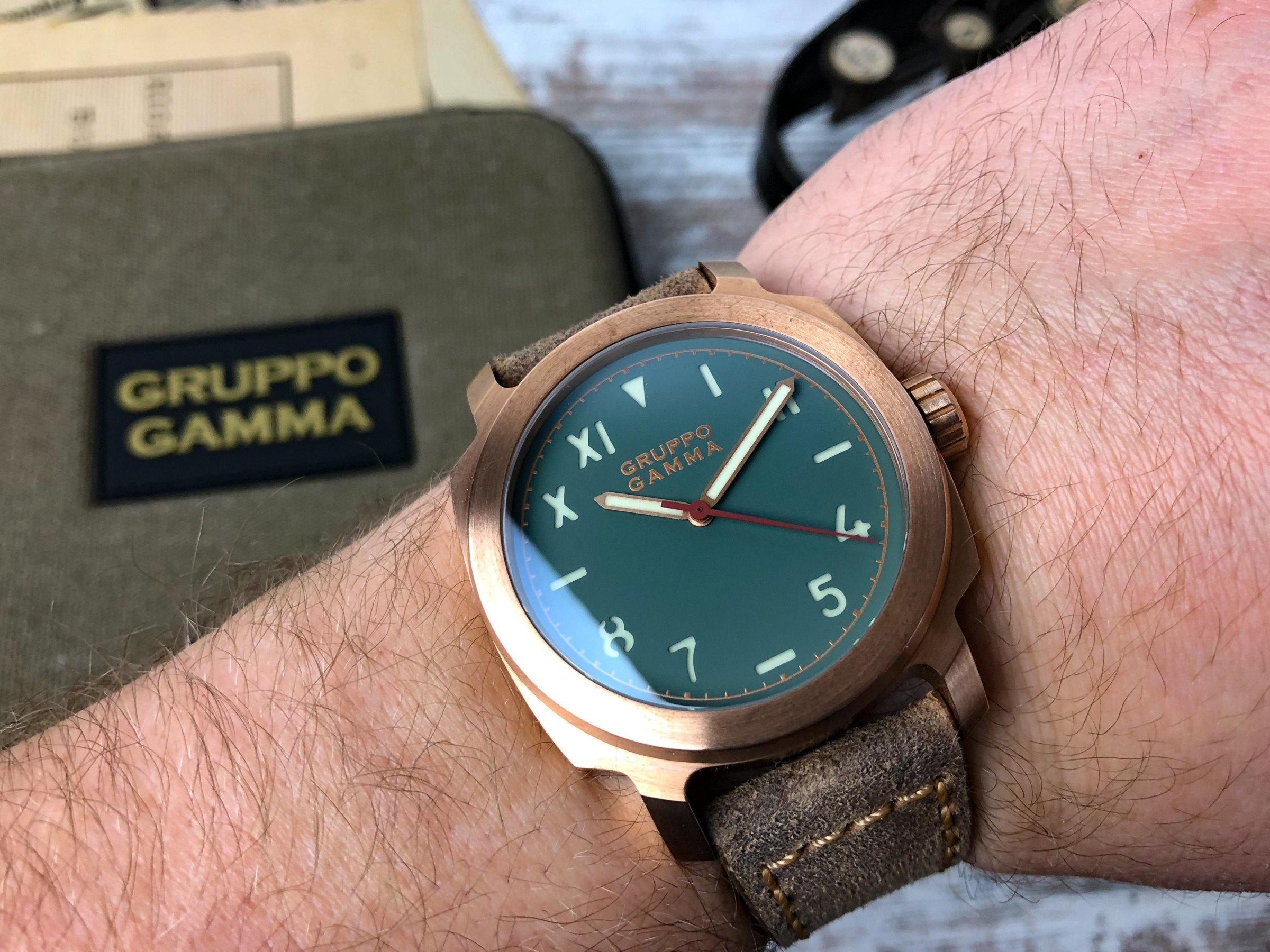 Gruppo Gamma Vintage Lederband Bronze AN13 Vanguard Wristshot handgelenk