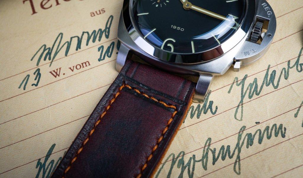 Uhrenband Leder Burgund Rot Panerai