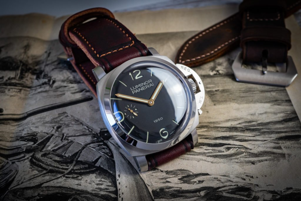 Uhrenband Leder Burgund Rot Panerai 1950 Vintage Retro