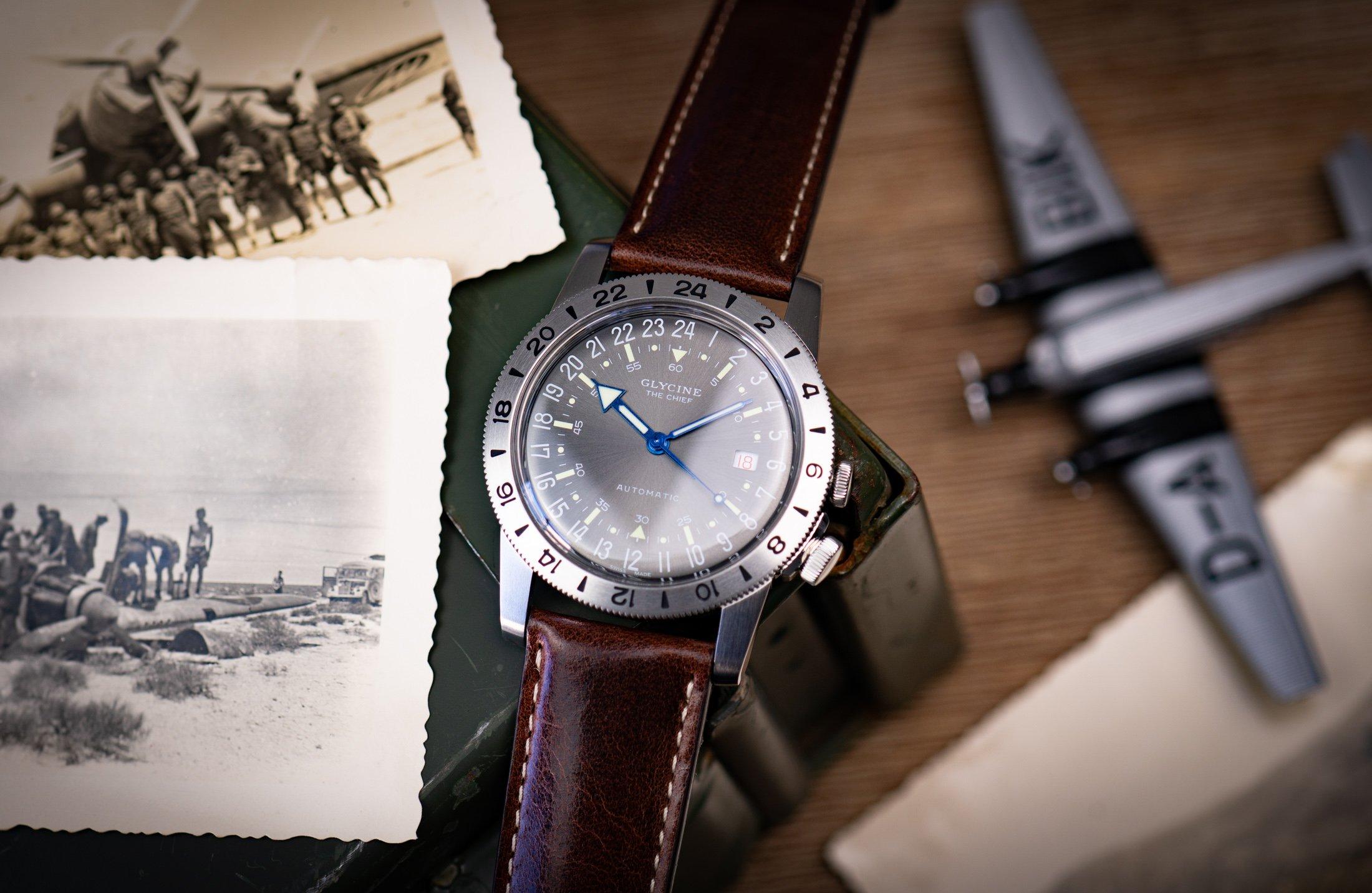 Glycine-Airman-GMT-Uhr-24-Stunden-Zifferblatt
