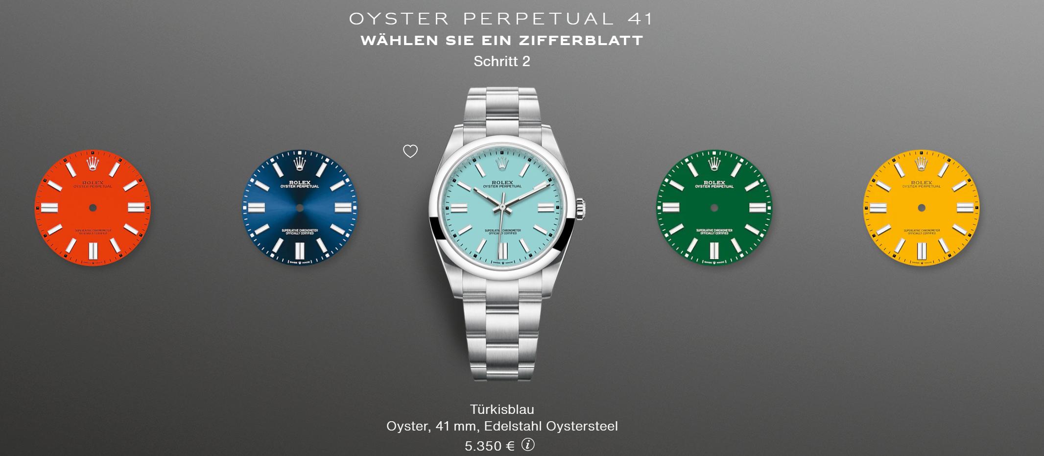 Rolex Oyster Perpetual 41 türkis bunt